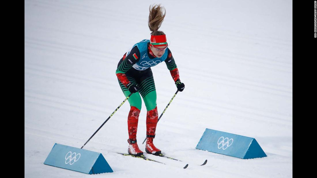 Polina Seronosova, a cross-country skier from Belarus, competes in a classical sprint race.