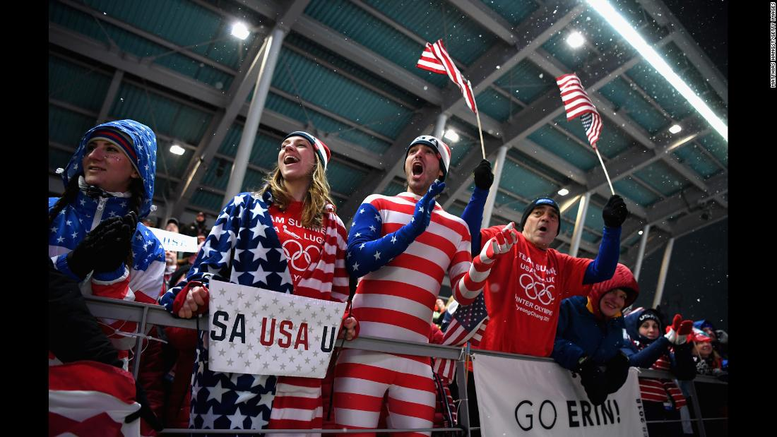 US fans cheer during the women's luge competition.