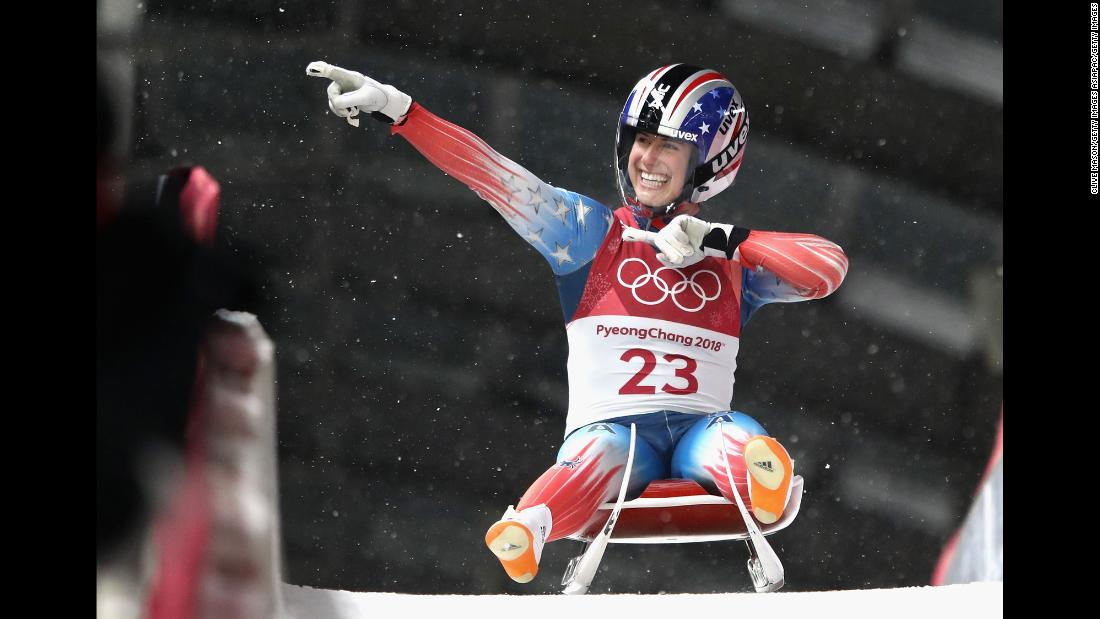American Emily Sweeney reacts after a luge run.