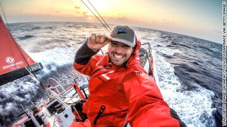 AT SEA -  FEBRUARY 20:  In this handout image provided by the Volvo Ocean Race onboard Dongfeng Race Team, OBR Sam Greenfield during Leg 4 from Sanya to Auckland started on February 08, 2015 in Sanya, China. The Volvo Ocean Race 2014-15 is the 12th running of this ocean marathon. Starting from Alicante in Spain on October 04, 2014, the route, spanning some 39,379 nautical miles, visits 11 ports in eleven countries (Spain, South Africa, United Arab Emirates, China, New Zealand, Brazil, United States, Portugal, France, The Netherlands and Sweden) over nine months. The Volvo Ocean Race is the world's premier ocean yacht race for professional racing crews. (Photo by Sam Greenfield/Dongfeng Race Team/Volvo Ocean Race via Getty Images)February, 2015. Leg 4 onboard Dongfeng Race Team. OBR Sam Greenfield.
