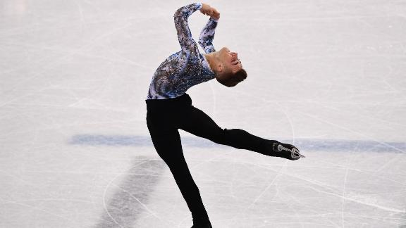 TOPSHOT - USA's Adam Rippon competes in the figure skating team event men's single skating free skating during the Pyeongchang 2018 Winter Olympic Games at the Gangneung Ice Arena in Gangneung on February 12, 2018. / AFP PHOTO / ARIS MESSINIS        (Photo credit should read ARIS MESSINIS/AFP/Getty Images)