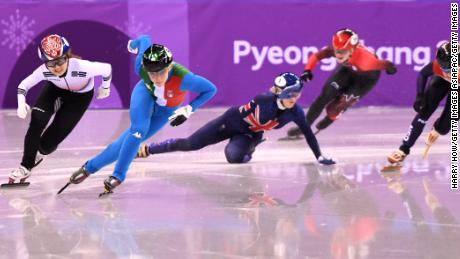 Britain's Elise Christie was devastated after crashing in the 500m short-track final.