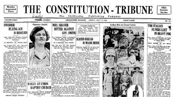 The front page of the paper published on July 6, 1928. It announced that sliced bread will be sold in stores for the first time the following day.