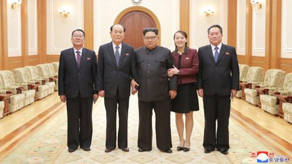 Kim Jong Un, North Korean leader met members of the high-level delegation of North Korea who visited south Korea to attend the opening ceremony of the 23rd Winter Olympics.