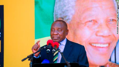 ANC President Cyril Ramaphosa at a rally on Sunday in Cape Town.