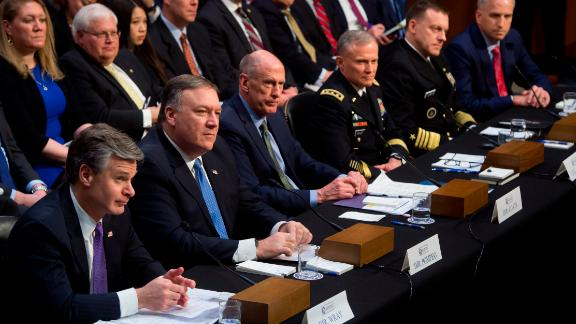 FBI Director Christopher Wray (L), CIA Director Mike Pompeo (2nd L), Director of National Intelligence Dan Coats (3rd L), Defense Intelligence Agency Director Robert Ashley (3rd R), National Security Agency Director Michael Rogers (2nd R) and National Geospatial Intelligence Agency Director Robert Cardillo (R) testify on worldwide threats during a Senate Intelligence Committee hearing on Capitol Hill in Washington, DC, February 13, 2018. (SAUL LOEB/AFP/Getty Images)