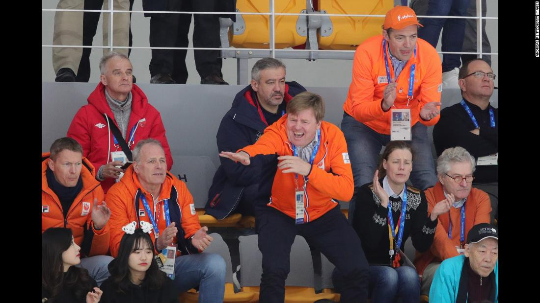 King Willem-Alexander of the Netherlands gestures during the men's 1,500-meter speedskating race. Dutch skater Kjeld Nuis won the gold. The Netherlands have now won four gold medals, all in speedskating.