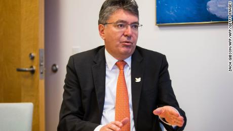 Colombian Minister of Finance and Public Credit Mauricio Cardenas speaks during an interview at the 2016 Annual Meetings of the International Monetary Fund and the World Bank Group at The World Bank Building October 8, 2016 in Washington, D.C.  / AFP / ZACH GIBSON        (Photo credit should read ZACH GIBSON/AFP/Getty Images)
