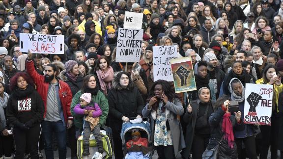 Protestors in Stockholm, Sweden, at a demonstration against slavery in Libya, in 2017.