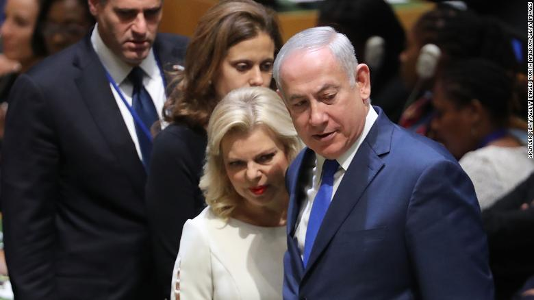 NEW YORK, NY - SEPTEMBER 19:  Israeli Prime Minister Benjamin Netanyahu arrives with his wife Sara Netanyahu for the 72nd United Nations (UN) General Assembly meeting at UN headquarters in New York on September 19, 2017 in New York City. Topics to be discussed at this year's gathering include Iran, North Korea and global warming.  (Photo by Spencer Platt/Getty Images)