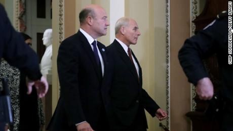 White House National Economic Council Director Gary Cohn and Chief of Staff John Kelly arrive for the weekly Senate Republican Policy Committee luncheon in the U.S. Capitol November 28, 2017 in Washington, DC. U.S. President Donald Trump is joining the Senate Republicans for their weekly luncheon.