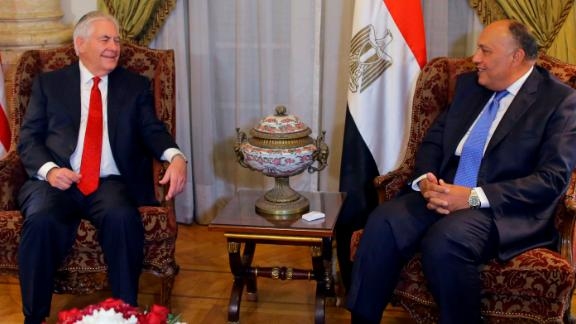 US Secretary of State Rex Tillerson, left, meets Egyptian Foreign Minister Sameh Shoukry, in Cairo, Egypt.