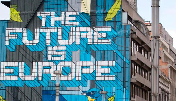 A giant mural on a main avenue in the EU quarter of Brussels, Tuesday, Oct. 3, 2017