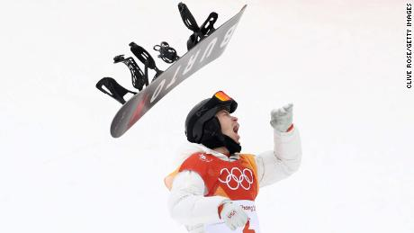 Shaun White celebrates during the Snowboard Men's Halfpipe Final at Phoenix Snow Park on February 14, 2018.