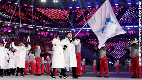 PYEONGCHANG-GUN, SOUTH KOREA - FEBRUARY 09:  The North Korea and South Korea Olympic teams enter together under the Korean Unification Flag during the Parade of Athletes during the Opening Ceremony of the PyeongChang 2018 Winter Olympic Games at PyeongChang Olympic Stadium on February 9, 2018 in Pyeongchang-gun, South Korea.  (Photo by Matthias Hangst/Getty Images)