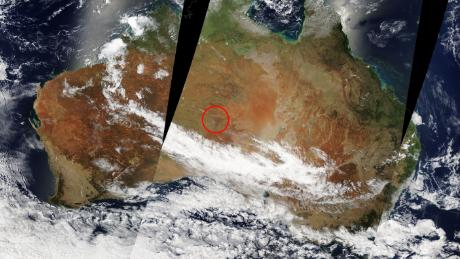 A fire in Australia can be seen from space on February 12.