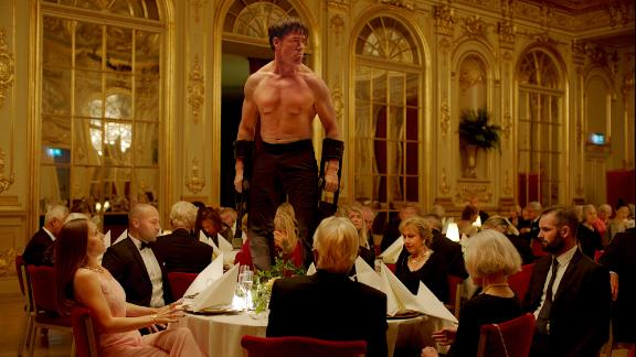 """Terry Notary as performance artist Oleg in """"The Square."""""""
