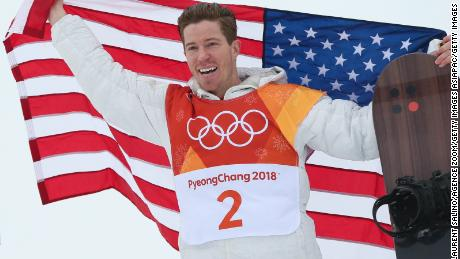 PYEONGCHANG-GUN, SOUTH KOREA - FEBRUARY 14: Shaun White of USA takes 1st place during the Snowboarding Men's Halfpipe Finals at Pheonix Snow Park on February 14, 2018 in Pyeongchang-gun, South Korea. (Photo by Laurent Salino/Agence Zoom/Getty Images)