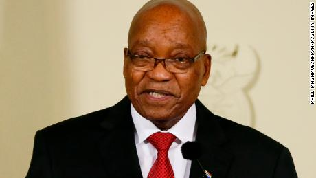 President of South Africa Jacob Zuma addresses the nation at the Union Buildings in Pretoria on February 14, 2018. Zuma is addressing the nation after the ruling African National Congress (ANC) party instructed him to immediately resign. / AFP PHOTO / Phill Magakoe        (Photo credit should read PHILL MAGAKOE/AFP/Getty Images)