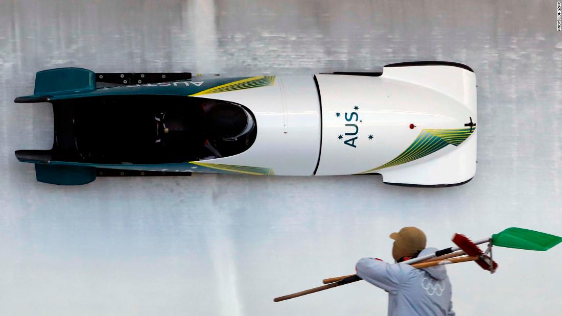 Australian bobsledders Lucas Mata and David Mari take a practice run.