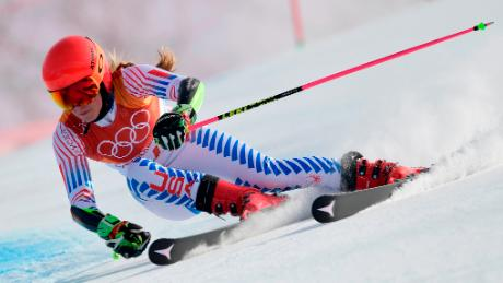 Shiffrin was in second place after her first of two runs. (Javier Soriano/AFP/Getty Images)