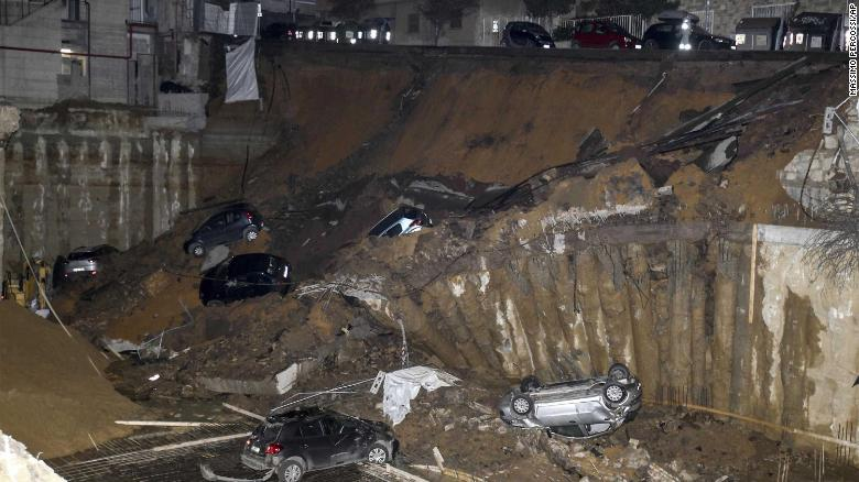 The sinkhole opened up near a building site.