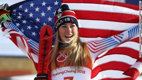 PYEONGCHANG-GUN, SOUTH KOREA - FEBRUARY 15:  Gold medalist Mikaela Shiffrin of the United States poses on the podium after the Ladies' Giant Slalom on day six of the PyeongChang 2018 Winter Olympic Games at Yongpyong Alpine Centre on February 15, 2018 in Pyeongchang-gun, South Korea.  (Photo by Ezra Shaw/Getty Images)