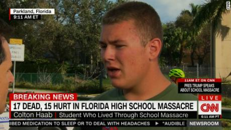 Stoneman Douglas High School student Colton Haab took quick action to protect other students.