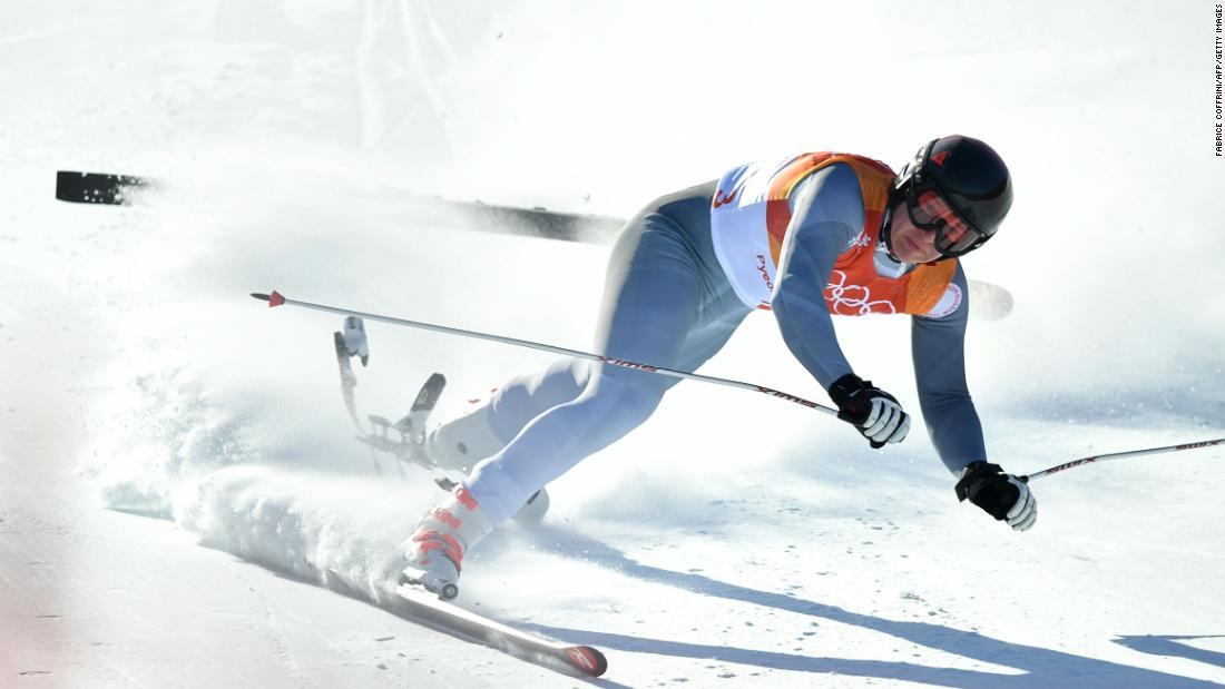 Russian Pavel Trikhichev suffers a fall after clipping a gate during the alpine combined downhill. He was the sole Olympic Athlete from Russia to compete in the event.