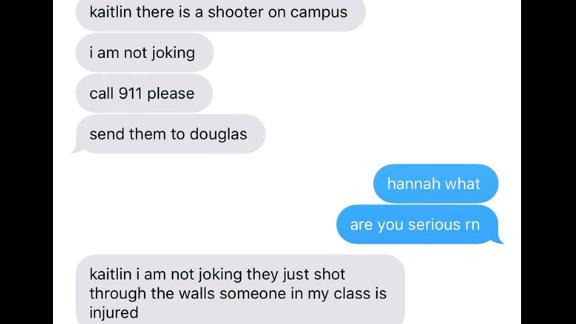 Kaitlin Carbocci was at work when she received these chilling messages from her sister Hannah, 17, who was on lockdown inside Marjory Stoneman Douglas High School in Parkland, Florida, as a gunman walked the halls.