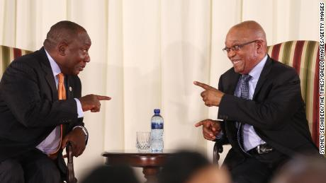 Cyril Ramaphosa, left, and Jacob Zuma during Zuma's swearing-in ceremony in May 2014 in Pretoria.
