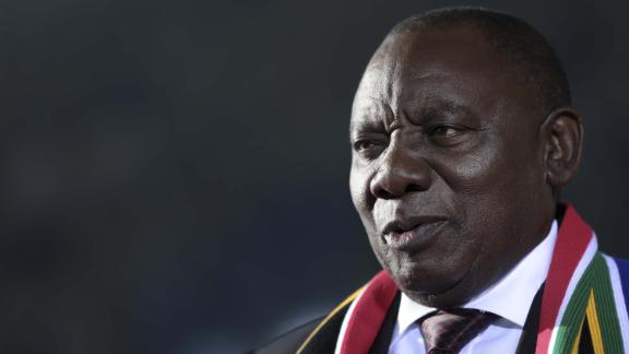 Cyril Ramaphosa, South Africa's deputy president, speaks during a Bloomberg Television interview on day two of the World Economic Forum (WEF) in Davos, Switzerland, on Wednesday, Jan. 24, 2018. World leaders, influential executives, bankers and policy makers attend the 48th annual meeting of the World Economic Forum in Davos from Jan. 23 - 26. Photographer: Simon Dawson/Bloomberg via Getty Images