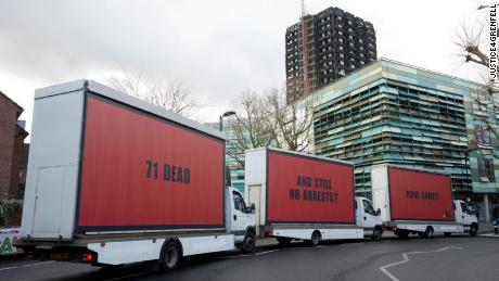 The roaming billboards toured London before parking at the scene of the fire.