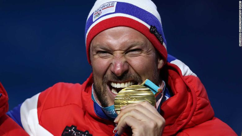 PYEONGCHANG-GUN, SOUTH KOREA - FEBRUARY 15:  Gold medalist Aksel Lund Svindal of Norway celebrates during the medal ceremony for Alpine Skiing - Men's Downhill on day six of the PyeongChang 2018 Winter Olympic Games at Medal Plaza on February 15, 2018 in Pyeongchang-gun, South Korea.  (Photo by Alexander Hassenstein/Getty Images)