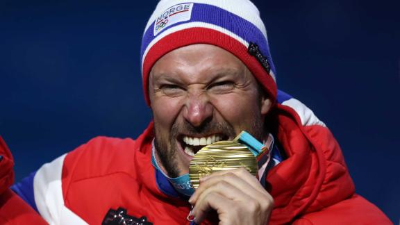 PYEONGCHANG-GUN, SOUTH KOREA - FEBRUARY 15:  Gold medalist Aksel Lund Svindal of Norway celebrates during the medal ceremony for Alpine Skiing - Men