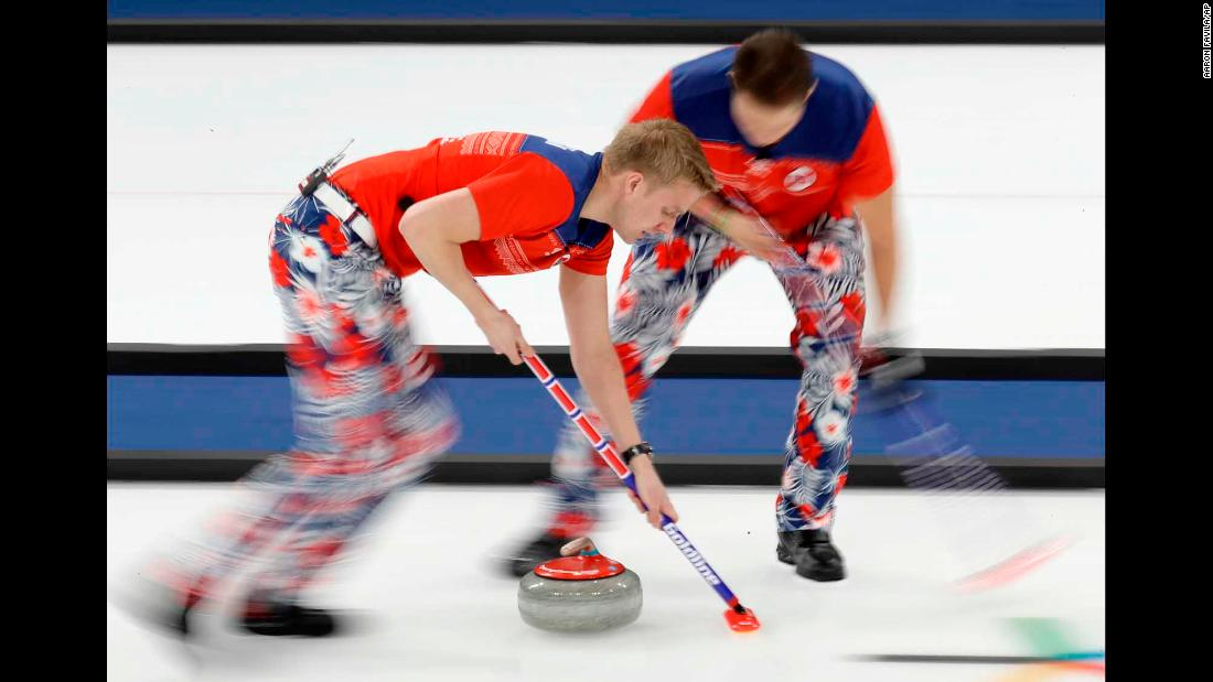 Norway's curling team competes against Canada.