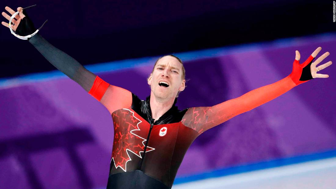 Canadian speedskater Ted-Jan Bloemen reacts after setting a new Olympic record in the 10,000 meters. He won the gold.