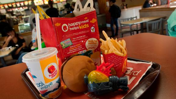 SAN FRANCISCO, CA - NOVEMBER 03:   A photo illustration of a Happy Meal at McDonald's on November 3, 2010 in San Francisco, California.  San Francisco became the first city in the nation to pass a law to control giving away free toys with unhealthy meals for children.  The law requires that any restaurant kid's meals meet nutritional standards before they can be sold with toys.  (Photo by David Paul Morris/Getty Images)