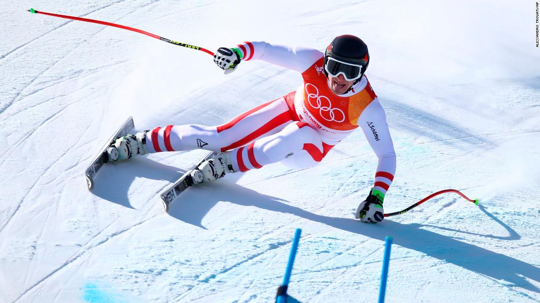Austria's Matthias Mayer won gold in the super-G just a few days after a spectacular crash in the combined event. It's the second Olympic gold for Mayer, who won the downhill in 2014.