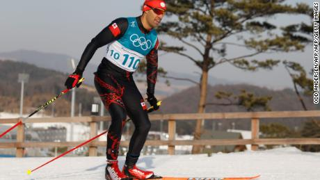 Tonga's Pita Taufatofua competes during the men's 15km cross country freestyle.