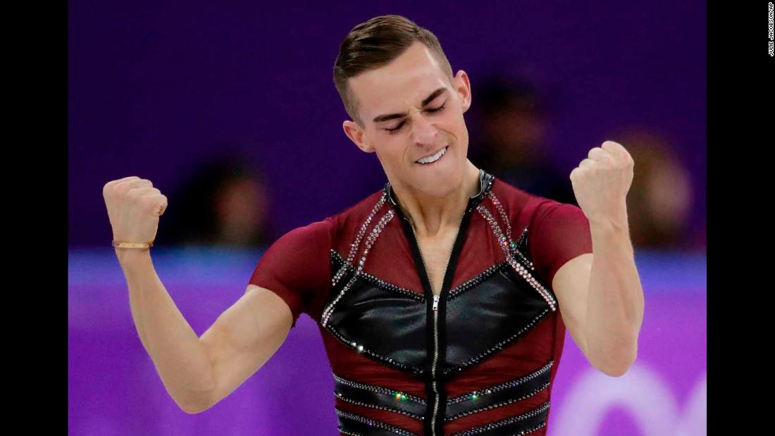 Adam Rippon reacts after performing his short program on the first day of men's figure skating. He was the highest-scoring American but still has a long way to go to be in medal contention.