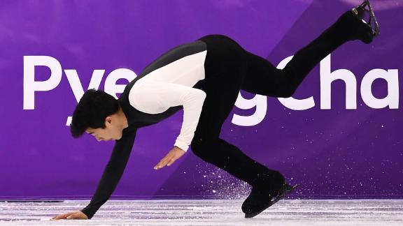 American Nathan Chen was expected to challenge Hanyu for the gold, but he fell at the start of his short program and then stumbled a couple more times.