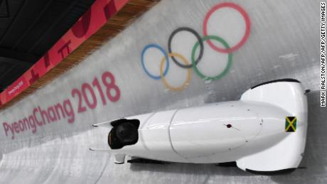 Team leader and driver Jazmine Fenlator-Victorian of Jamaica corners in the second women's unofficial bobsleigh training session at the Olympic Sliding Centre, ahead of the Pyeongchang 2018 Winter Olympic Games, in Pyeongchang on February 8, 2018. / AFP PHOTO / Mark Ralston        (Photo credit should read MARK RALSTON/AFP/Getty Images)