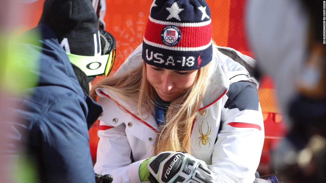"American skier Mikaela Shiffrin is consoled after <a href=""https://www.cnn.com/2018/02/16/sport/mikaela-shiffrin-slalom-intl/index.html"" target=""_blank"">finishing fourth in the slalom</a> -- her best event and the event she won four years ago at the Olympics. She had won the giant slalom a day before."
