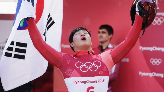 PYEONGCHANG-GUN, SOUTH KOREA - FEBRUARY 16:  Sungbin Yun of Korea celebrates winning the Men