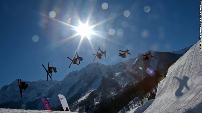 SOCHI, RUSSIA - FEBRUARY 05: (Editors Note: Image was created using multiple exposure) Beau-James Wells of New Zealand practices during training for Ski Slopestyle at the  Extreme Park at Rosa Khutor Mountain on February 5, 2014 in Sochi, Russia.  (Photo by Mike Ehrmann/Getty Images)