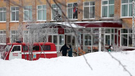 PERM, RUSSIA - JANUARY 15, 2018: An emergency service vehicle outside Secondary School No 127 in Motovilikhinsky District of the city of Perm; the school became the scene of knife violence which left a teacher and several students injured; according to the Investigative Committy of Russia, the violence was caused by a knife fight between two schoolboys. Maxim Kimerling/TASS (Photo by Maxim Kimerling\TASS via Getty Images)