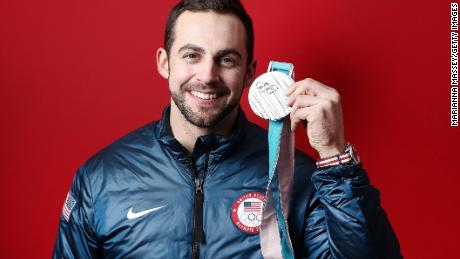 GANGNEUNG, SOUTH KOREA - FEBRUARY 12:  (BROADCAST-OUT) Silver medalist in the Luge Men's Singles Chris Mazdzer of the United States poses for a portrait on the Today Show Set on February 12, 2018 in Gangneung, South Korea.  (Photo by Marianna Massey/Getty Images)