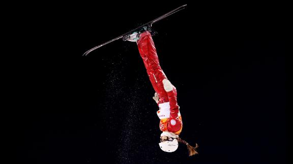 Liubov Nikitina, a freestyle skier from Russia, competes in the aerials.