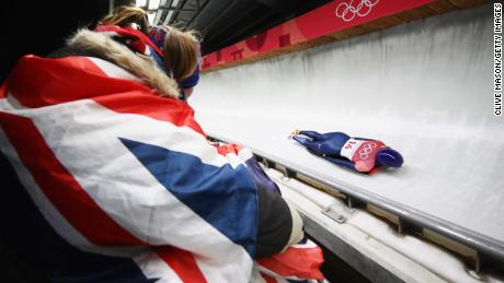 PYEONGCHANG-GUN, SOUTH KOREA - FEBRUARY 16:  British fan watches as Lizzy Yarnold of Great Britain slides during the Women's Skeleton heat one at Olympic Sliding Centre on February 16, 2018 in Pyeongchang-gun, South Korea.  (Photo by Clive Mason/Getty Images)